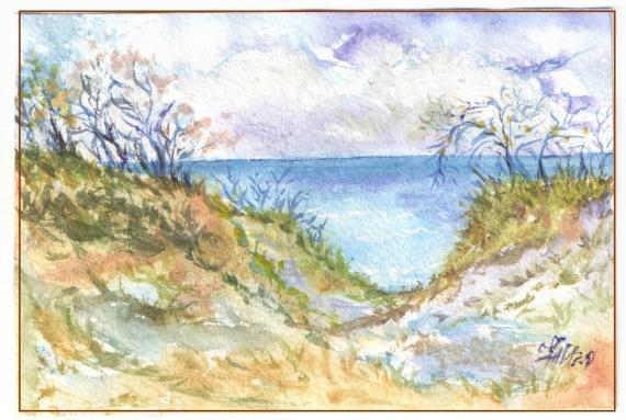 Балтийский берег (9х14, бумага, акварель)