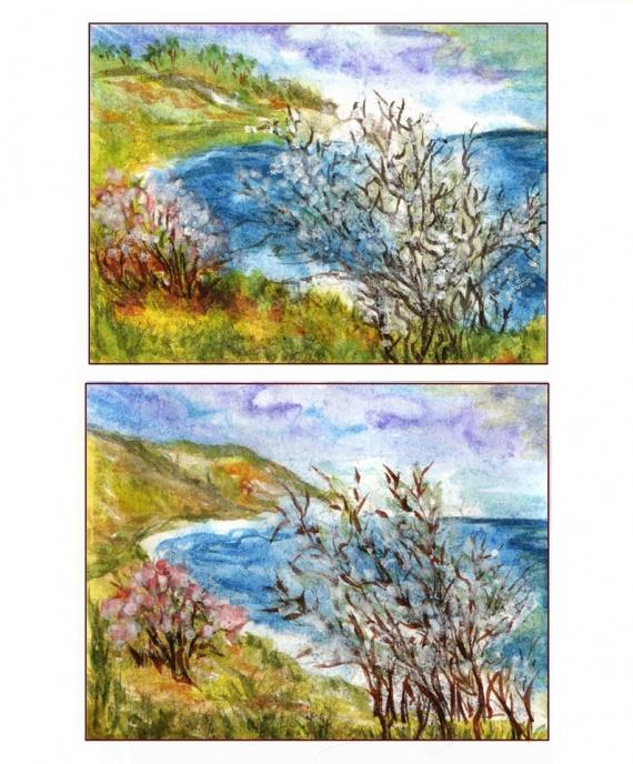 Море, берег, яблони в цвету